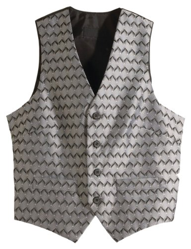 Edwards Garment Men's Swirl Brocade Pattern V Neck Vest, Silver, - Pattern Edward