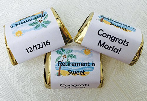 - 210 Woman Retirement Party personalized candy wrappers, adhesive stickers, labels for your Hershey nuggets. Makes great party favors!