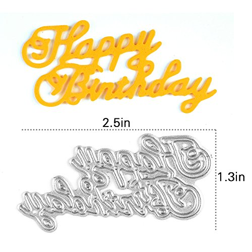 [Enipate Happy Birthday Cutting Dies Carbon Steel Stencil Metal DIY Template] (Seven Dwarfs Costume Ideas)