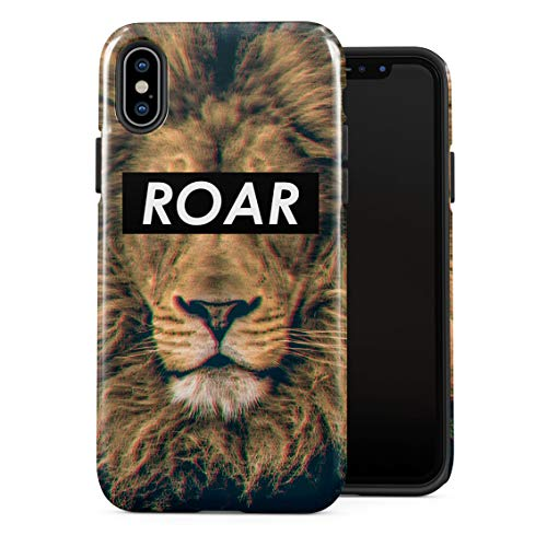 Roar Trippy Lion Jungle Safari King Mane Wild Cats Double Layer Hard PC Armor & Shock Absorbing TPU Tough Cover Shell for iPhone X/XS Case