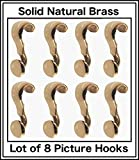Lot of Eight (8) Picture Rail hangers, handmade of Solid Brass with PROTECTIVE Top coat. The pictures will tell the full story of the exception product.