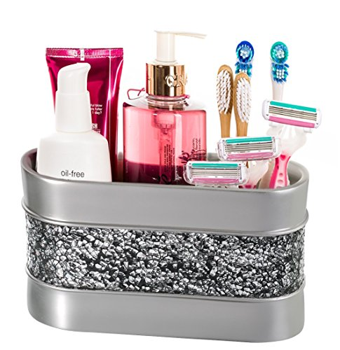 Makeup Brush Holder, Bathroom Organizer Countertop, Decorative Bathroom Counter/Vanity Organizer, 3 Slot Cosmetic Brushes Caddy/Hair Accessories Storage, Gift Packaged (Silver)