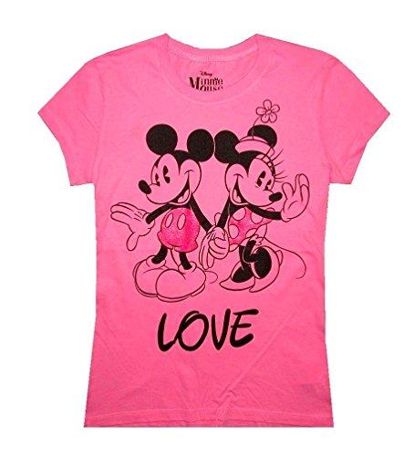 Disney Mickey Mouse Juniors T-shirt Pink Retro Style (Medium)