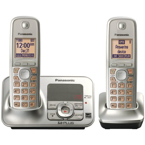 (Panasonic KX TG4132N Dect 6.0 Cordless Phone with Answering System, Champagne Gold, 2 Handsets)