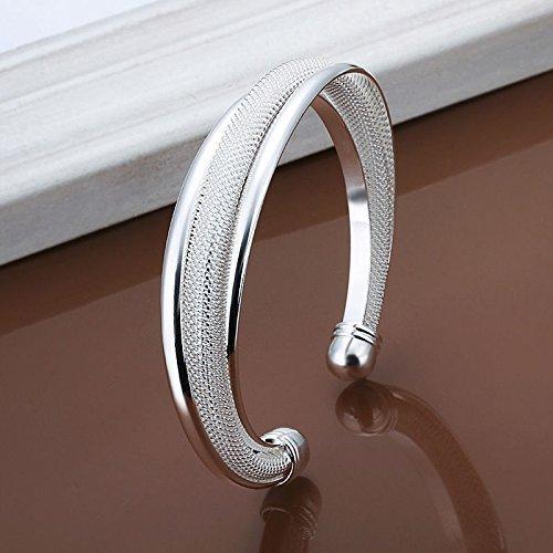 LTDD Lady Silver Retro Mesh Solid Bangle Bracelet Women Jewelry Gift