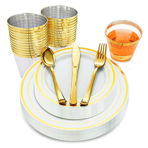 (150pcs Gold Plates Elegant Disposable Set| Gold Plastic Plates with a Stunning Gold Trim| Golden Plastic Plates for Parties, Weddings & Special Occasions| Gold Disposable Plates with Zero)