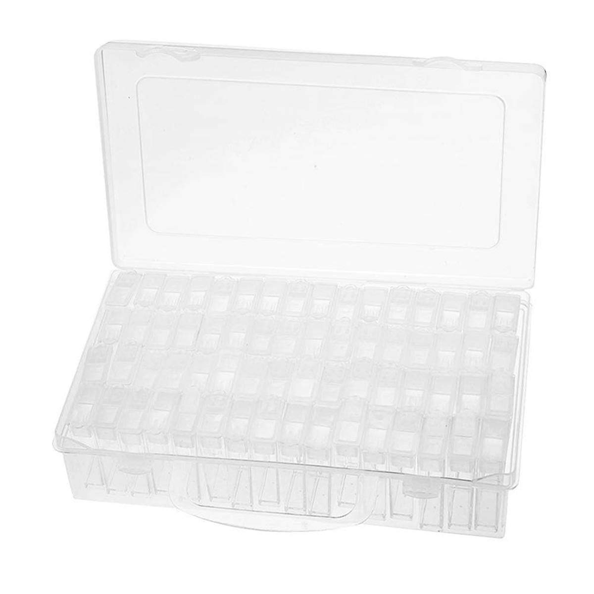 Yesbaby 64 Grids Diamond Embroidery Box Transparent Plastic Dismountable Storage Box Embroidery Accessories Container Diamond Painting Holder for DIY Craft