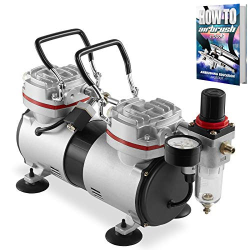 PointZero 1/3 HP Double Piston Airbrush Compressor with Regulator, Gauge and Water Trap – Quiet Professional Air Pump