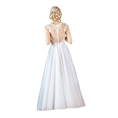 Dexinyuan 2019 Plus Size Lace Beach Wedding Dresses Backless Cap
