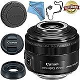 Canon EF-S 35mm f/2.8 Macro IS STM Lens 2220C002 + Fibercloth + Lens Capkeeper Bundle
