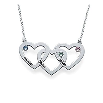 Amandasessom Triple Hearts Intertwined Necklace-Engraved Any Name with Birthstone Pendant Gift for Women