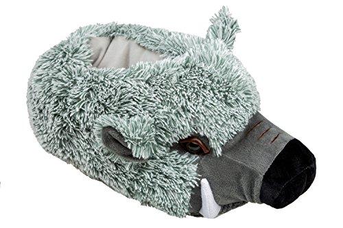 GIBRA® Tierhausschuhe  Wildschwein  Hausschuhe, Gr. 41-46 Grau
