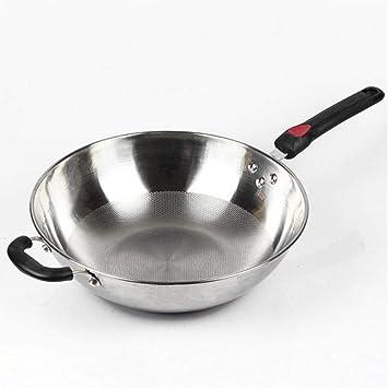 SKYyao Sarten acero inoxidable,Wok de acero inoxidable de tres capas Sartén antiadherente sin recubrimiento Cocina de inducción universal Sin tapa: ...