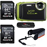 FUJIFILM FinePix XP130 - Lime, Fujifilm 64GB and 16GB SD Memory Cards and Fujifilm Rugged Float Strap Bundle