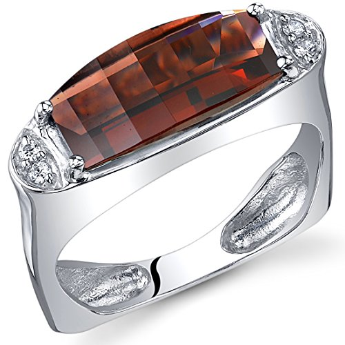 Radiant and Seductive 3.00 Carats Barrel Cut Garnet Ring in Sterling Silver Rhodium Finish Size 5