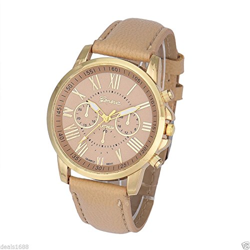 Fashion Women's Geneva Roman Watch Numerals Leather Analog Quartz Wrist Watches (Mens Watches Fossil Cheap)