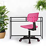 Homycasa Children Kids Chair, Low-Back Armless Adjustable Swivel Ergonomic Home Office Student Computer Desk Chair, Hollow Star in color PINK