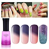 iLuve Long Lasting Soak Off Chameleon Temperature Colour Change Nail Polish with 60 Color Choices | 4 bottle with 12ml UV Gel Polish of Color #54009