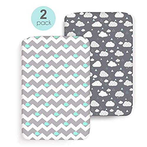 (COSMOPLUS Stretch Fitted Pack n Play Playard Sheets - 2 Pack for Mini Crib Sheet Set,Pack n Play Mattress Cover, Ultra Stretchy Soft,Whale/Cloud)