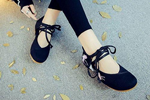 Avacostume Femmes Papillon Broderie Lacets Voyage Unique Chaussures Noir