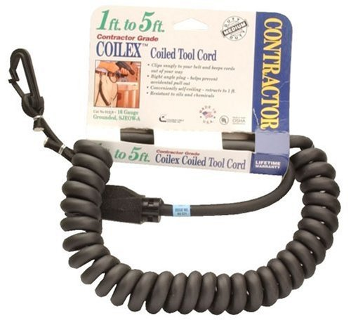 Coleman Cable 01220-02 16/3 1-5-Foot Coilex TM Coil Cord with Belt Clip 12200008