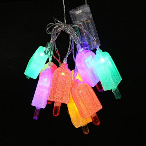 Rong Popsicle String Lights 10 Battery Powered LED Party Lighting Summer (A, Colorful)