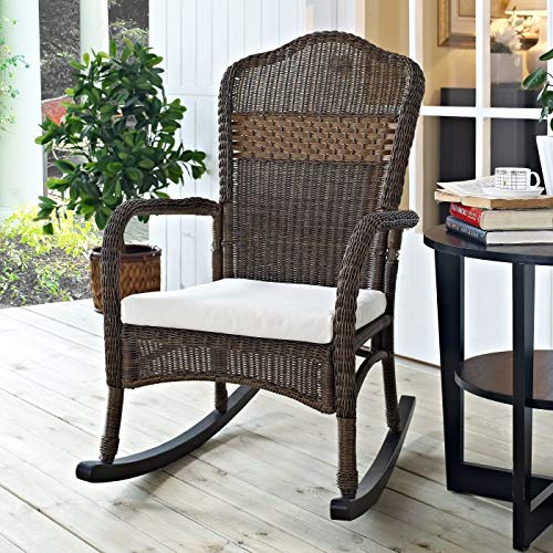 (Classic Traditional Country Brown Resin Wicker Patio Rocking Chair Outdoor Porch Rocker Furniture with Seat Cushion)