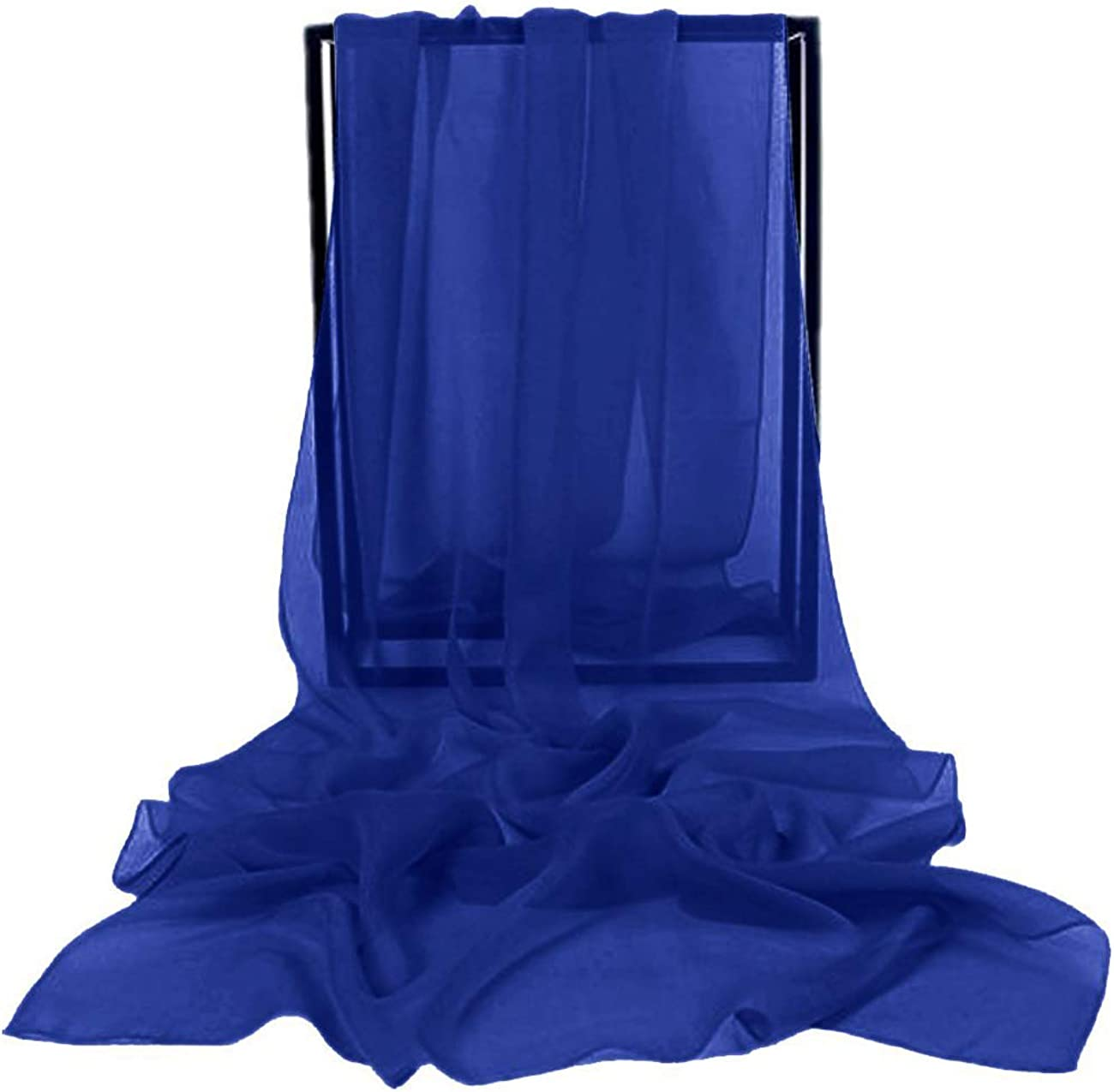 Bridesmay Femme /écharpe Ch/âle Foulard Etole Pashmina en Mousseline unicolore pour Robe de Soir/ée Mariage Mari/ée C/ér/émonie Cocktail Royal Blue M
