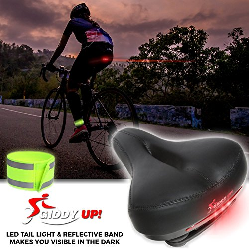 Giddy Up! Bike Seat - Most Comfortable Memory Foam Waterproof Bike Saddle, Universal Fit, Shock Absorbing including Mounting Wrench - Allen Key - Reflective Band and Waterproof Protection Cover by Giddy Up! (Image #8)