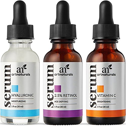All Natural Moisturizing (ArtNaturals Anti-Aging-Set with Vitamin-C Retinol and Hyaluronic-Acid - (3 x 1 oz) Serum for Anti Wrinkle and Dark Circle Remover – All Natural and Moisturizing)