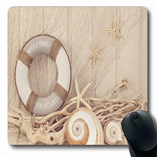 Tobesonne Mousepads Marine Shell Life Buoy On White Shabby Seashell Summer Sea Sepia Boat Ship Star Design Cruise Oblong Shape 7.9 x 9.5 Inches Non-Slip Gaming Mouse Pad Rubber Oblong Mat (Sepia Shell)