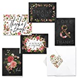 Canopy Street Chalkboard Floral Thank You Note Card Assortment Pack - Set of 36 with White Envelope (53804)
