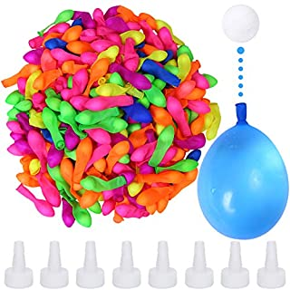 Elcoho 300 Pack Water Balloons Bomb Self-Sealing Latex Water Balloons Bomb with 8 Hose Nozzle for Adults Outdoor Water Bomb Fight Games