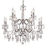 DINGGU™ Luxury Chrome Finish Modern 12 Lights Dia 27.6 Inch Crystal Chandelier Lighing Pendant Lamp Fixtures for Living Room Review