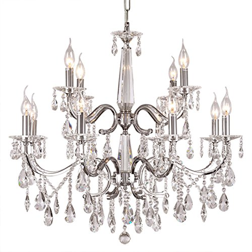 DINGGU™ Luxury Chrome Finish Modern 12 Lights Dia 27.6 Inch Crystal Chandelier Lighing Pendant Lamp Fixtures for Living Room