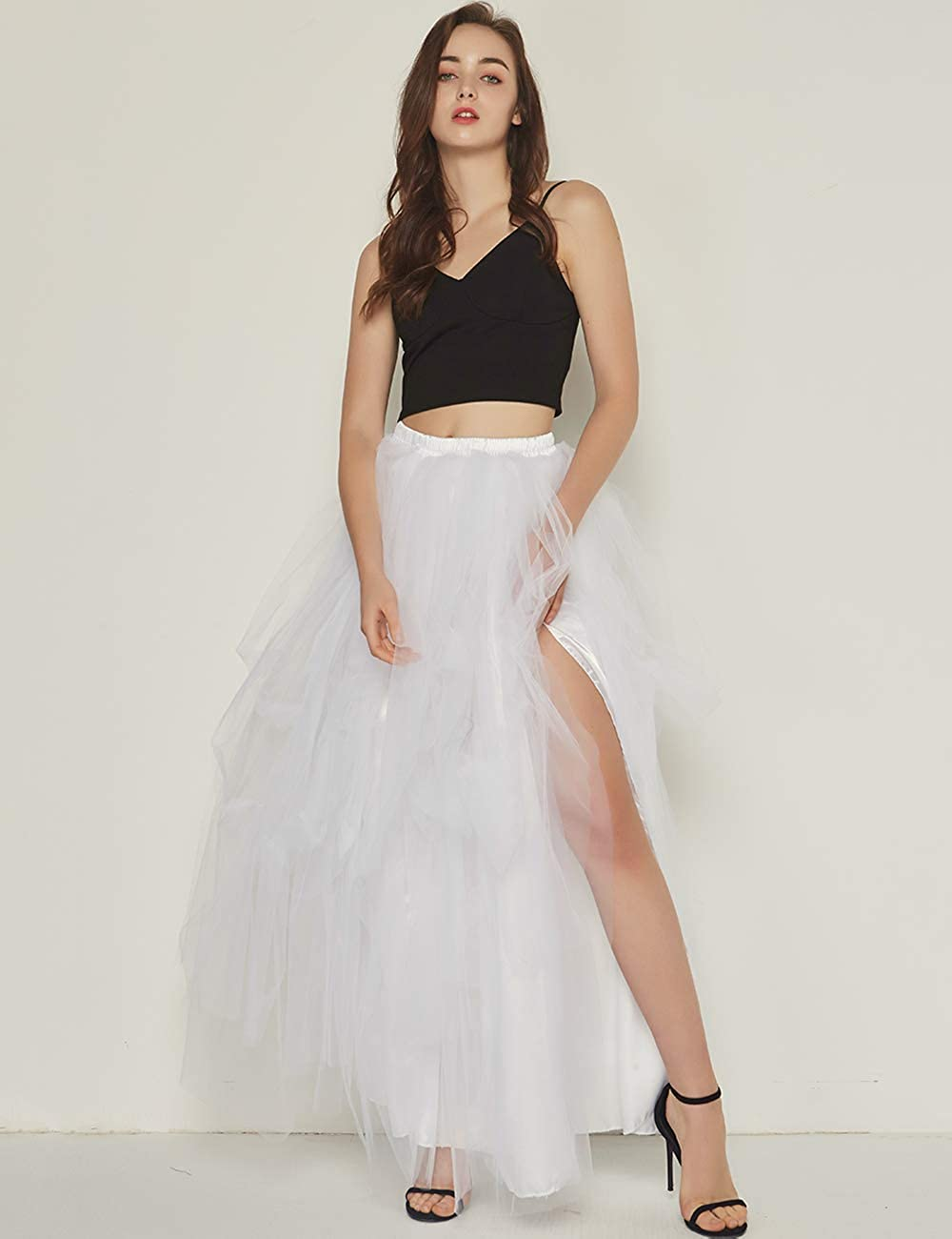 Women/'s Tulle Skirts Outfit Maxi Floor Length A line Bridesmaid Skirt for Adults
