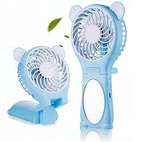 Sammid Mini Handheld Personal Fan,Mini USB Rechargeable Portable Table Fan,Handheld Cute Fans for Girls - Blue by Sammid
