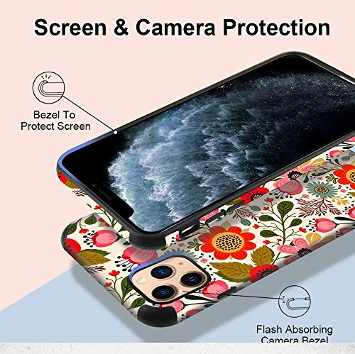 CUSTYPE Case for iPhone 11 Pro Max Case, iPhone 11 Pro Max Case Floral Girls Women Flower Design Soft Flexible TPU Shockproof Bumper Protective Cover for iPhone 11 Pro Max 6.5''