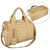 SANDI Beige Crocodile Studded Double Top Handle Shopper Tote Bowler Handbag Shoulder Bag Satchel Purse, Bags Central
