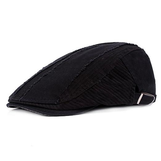 2711be8365a ZLSLZ Mens Ripped Patches Cotton Newsboy Ivy Irish Cabbie Golf Hat Cap for  Men (1Black