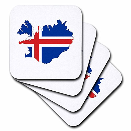 - 3dRose Maps In Exotic Form - Image of Flag Of Iceland Makes Up Map Outline - set of 4 Coasters - Soft (cst_279998_1)