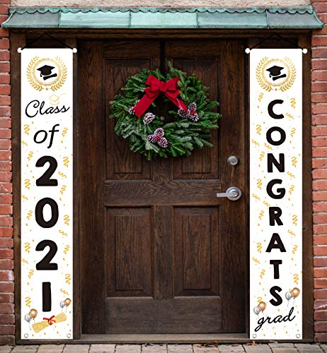 Graduation Decorations 2021 -Congrats & Class of 2021 Banner Graduation Party Decorations Supplies- Hanging Flags Porch Sign Outdoor Home Door Décor