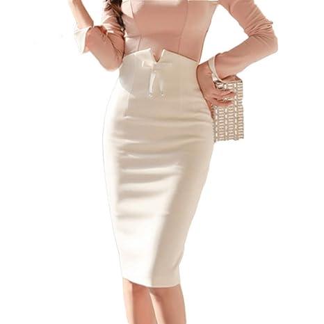 FSDFASS Falda Cintura Alta para Mujer, Falda de lápiz, Color ...