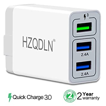 buy popular 710cf d24eb HZQDLN Fast Wall Charger QC 3.0 USB Quick Charge 3 Ports Tablet iPad Phone  Charger Adapter Travel Plug Compatible iPhone X/Xs/XS Max/XR/8/8+/7P/7/6/5  ...