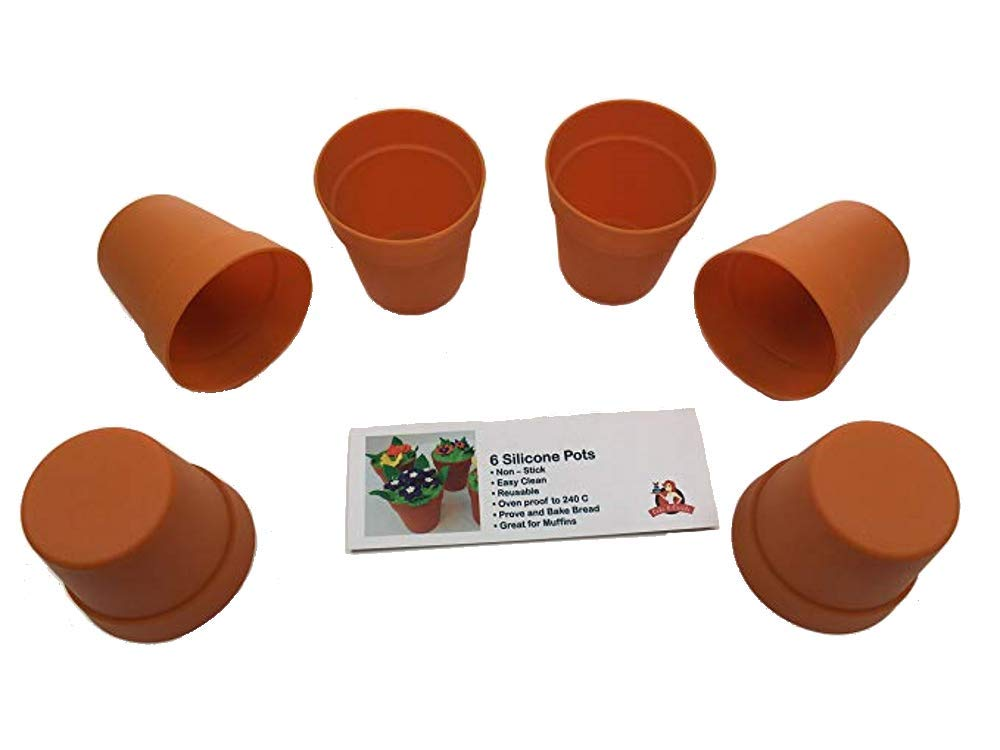6 Silicone CupCake/Muffin Cases/Bread Pots in the shape of Flower Pots/Plant Pots Bake and Create