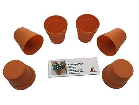 Moldes para magdalenas (silicona), diseño de maceta (seis unidades)
