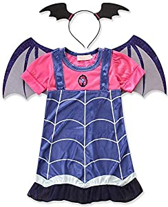 AOVCLKID Vampirina Costume Little Girls Dress up Toddler Baby Halloween Cosplay Outfit Kids Party Dresses (Dark Blue,100/2-3Y)