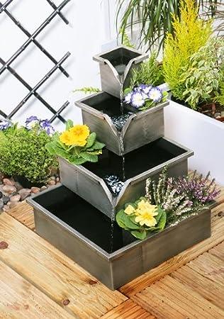 Primrose Wheaton Planter Cascading Water Feature Silver Amazon Co