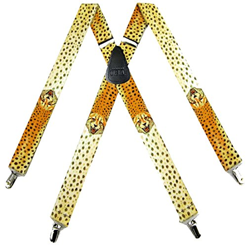 SUS-378-WLCH - Cheetah Novelty Themed X-BACK Suspenders by Buy Your Ties
