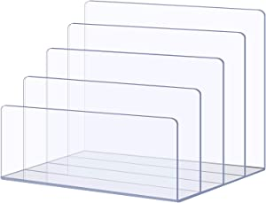 Sooyee Acrylic File Sorter, 4-Section Clear Desk Mail Organizer for Home Office, Desktop Step Magazine Holder, Crystal Paper Storage Collection for Letter, Document, Notebook, Binder, Purse, Palette